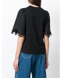 See By Chloé Black Pom Pom Trim T-shirt