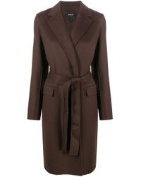Theory Brown Belted Midi Coat