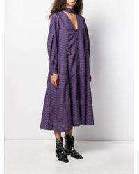 Ganni Vネック チェックドレス Purple
