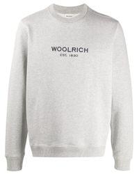 Woolrich Gray Logo-print Crew Neck Sweatshirt for men