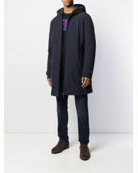 Manteau mi-long à capuche Moncler pour homme en coloris Blue