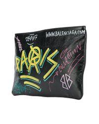 Клатч 'explorer' С Принтом В Стиле Граффити Balenciaga для него, цвет: Black