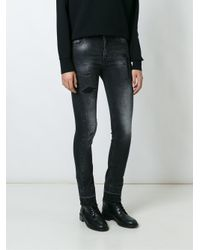 Marcelo Burlon - Gray Distressed Skinny Jeans - Lyst