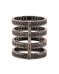 Repossi Black Diamond Four Row Ring