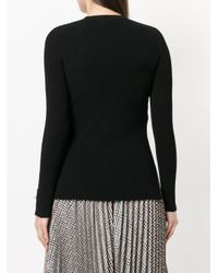 Fendi - Black Ribbed Embellished Top - Lyst