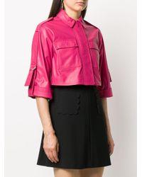 RED Valentino クロップド レザージャケット Pink