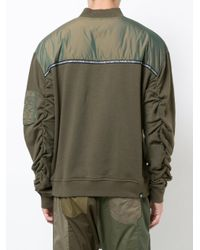 Mostly Heard Rarely Seen Green Panelled Sweatshirt for men