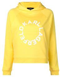 Felpa con logo di Karl Lagerfeld in Yellow