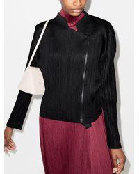 Pleats Please Issey Miyake Black Plissé-effect Zip-up Jacket