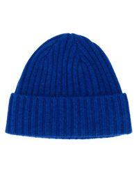Bonnet en tricot nervuré N.Peal Cashmere pour homme en coloris Blue