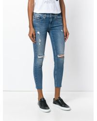 Calvin Klein Blue Cropped Distressed Jeans