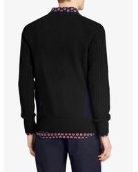 Burberry - Blue Cashmere Two-tone Cable Knit Sweater for Men - Lyst