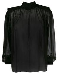 Alberta Ferretti Black Transparent Silk Blouse