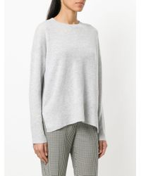 Theory - Gray Side-slit Cashmere Jumper - Lyst
