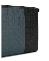 メンズ Ferragamo カラーブロック クラッチバッグ Multicolor