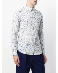 PS by Paul Smith White Foliage Print Curved Hem Shirt for men