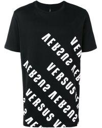 Versus  Black Logo Printed Short Sleeve T-shirt for men