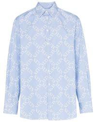 Valentino Blue Logo Grid Print Cotton Shirt for men