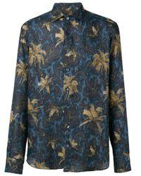 Camisa con motivo de palmeras y cashmere Etro de hombre de color Blue