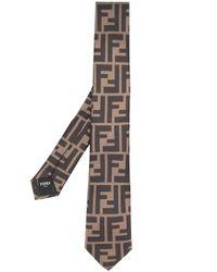Cravate à logo Fendi pour homme en coloris Brown