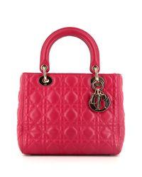 Sac cabas Lady Dior médium pre-owned Dior en coloris Pink