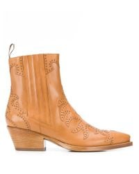 Sartore Brown Studded Texan Ankle Boots