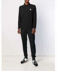 メンズ Karl Lagerfeld Ikonik パッチ ポロシャツ Black