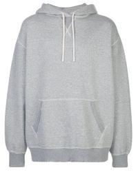 R13 Gray Long Sleeve Drawstring Hoodie for men