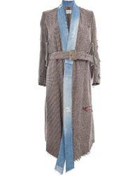 Greg Lauren Brown Mixed Media Kimono Coat