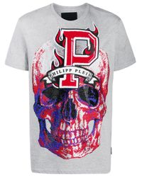 Camiseta Flame con cuello redondo Philipp Plein de hombre de color Gray