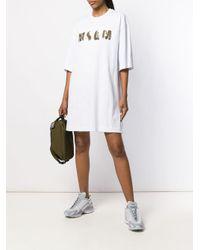 Robe courte à logo brodé de sequins MSGM en coloris White
