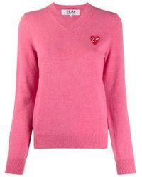 COMME DES GARÇONS PLAY ロゴ セーター Pink