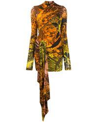 Robe courte imprimée à design drapé Halpern en coloris Brown