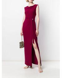 Lauren by Ralph Lauren Fitted Draped Dress Red