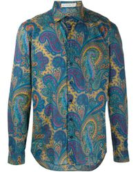 Camisa con motivo de cachemira Etro de hombre de color Blue