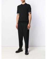 メンズ Neil Barrett ストライプ Tシャツ Black