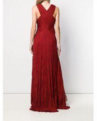 Roberto Cavalli エンブロイダリー&プリーツ イブニングドレス Red