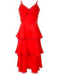 Marchesa notte ラッフル ドレス Red