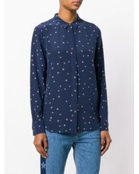 Closed Blue Star Patterned Shirt