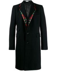 メンズ Alexander McQueen チェックカラー コート Black