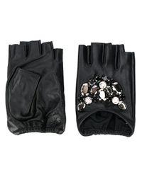 Karl Lagerfeld Black Handschuhe mit Schmucksteinen