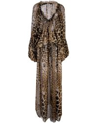 Robe évasée à imprimé léopard Saint Laurent en coloris Brown
