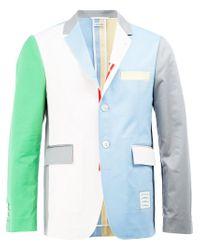 Thom Browne - Blue Colour Block Blazer for Men - Lyst