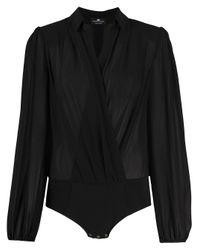 Elisabetta Franchi Black Long Sleeve Wrap Front Blouse