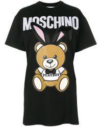 Moschino Black Playboy Toy Bear T-shirt Dress