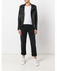 Current/Elliott Black Cropped Straight Jeans