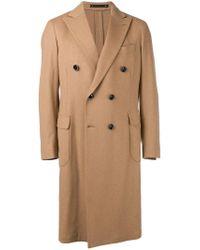 Bagnoli Sartoria Napoli Brown Double Breasted Coat for men