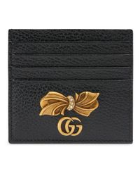 Gucci Black Leather Card Case With Bow
