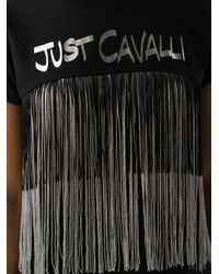 Just Cavalli ロゴ フリンジ Tシャツ Black
