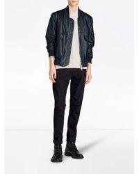 Burberry - Blue Leather Bomber Jacket for Men - Lyst
